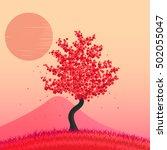 beautiful cherry blossom tree. | Shutterstock .eps vector #502055047