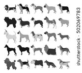 set of dog breeds in dark colors | Shutterstock . vector #502069783