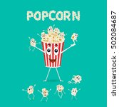 popcorn. cartoon happy cute... | Shutterstock .eps vector #502084687
