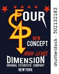 new york four dimension t shirt ... | Shutterstock .eps vector #502132183