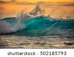 green blue ocean splashing wave ... | Shutterstock . vector #502185793