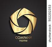 3d gold swirl logo   shutter... | Shutterstock .eps vector #502202353