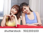 portrait of two female friends ... | Shutterstock . vector #502203103
