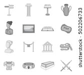 museum icons set. gray... | Shutterstock .eps vector #502206733