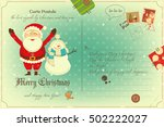 vintage postcard with christmas ... | Shutterstock .eps vector #502222027