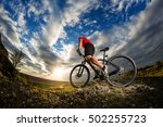 wide angle view of a cyclist... | Shutterstock . vector #502255723