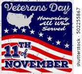 veterans day greeting card in... | Shutterstock .eps vector #502255867