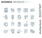 thin line business icons set