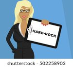 blonde girl hold tablet with ... | Shutterstock .eps vector #502258903