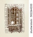 window with wooden shutters....   Shutterstock .eps vector #502264333