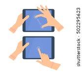 various gestures of female hand ...   Shutterstock .eps vector #502295623