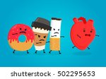 angry donut  coffee paper cup... | Shutterstock .eps vector #502295653