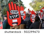 activists are holding red hand... | Shutterstock . vector #502299673