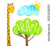 fun cartoon african giraffe... | Shutterstock . vector #502310053