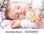 cute little girl sleeping with... | Shutterstock . vector #50236987