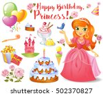 cute birthday design elements... | Shutterstock .eps vector #502370827