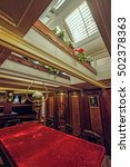 Small photo of MARIEHAMN, ALAND, FINLAND - October 07, 2016: Interior of captain saloon with light dome from sail ship in Aland maritime museum in Mariehamn, Aland