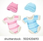 pink and blue sets for baby... | Shutterstock .eps vector #502420693