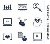 set of marketing icons on seo... | Shutterstock .eps vector #502465393