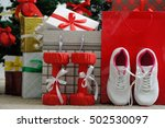 christmas present. athletic... | Shutterstock . vector #502530097