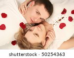 beautiful young couple with rose   Shutterstock . vector #50254363