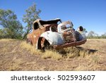 old rusty car in outback...