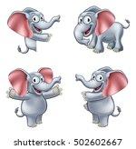 a friendly elephant cartoon... | Shutterstock . vector #502602667