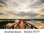 wooden bridge in lotus lake on...   Shutterstock . vector #502617577