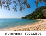 White Sandy Beach Bay With...