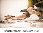 businesswoman prepare documents ... | Shutterstock . vector #502625713