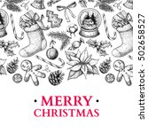 christmas holiday greeting card.... | Shutterstock .eps vector #502658527