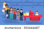 store with customers crowd and... | Shutterstock .eps vector #502666687