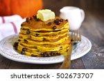 Pumpkin Pancakes With Chocolat...