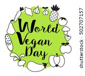 world vegan day  hand drawn... | Shutterstock .eps vector #502707157