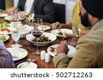 business people dining together ... | Shutterstock . vector #502712263