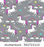 unicorns seamless pattern.... | Shutterstock .eps vector #502721113