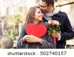 picture of young couple with... | Shutterstock . vector #502740157