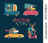 christmas in the night city.... | Shutterstock .eps vector #502740853