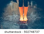 feeling protected in her boots. ... | Shutterstock . vector #502748737