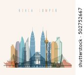 transparent styled kuala lumpur ... | Shutterstock .eps vector #502752667