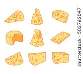 vector set of cheese isolated... | Shutterstock .eps vector #502763047