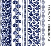 set of batik bohemian borders.... | Shutterstock .eps vector #502767883