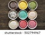 top view ice cream flavors in...   Shutterstock . vector #502794967