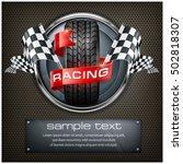 racing emblem. rubber wheel.... | Shutterstock .eps vector #502818307