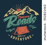 college. camping tent.  vintage tee print design. camping and outdoor adventure vintage emblems.  | Shutterstock vector #502821463