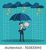 a business man with umbrella... | Shutterstock .eps vector #502833043