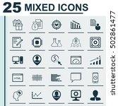 set of 25 universal editable... | Shutterstock .eps vector #502861477