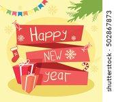 christmas illustration with... | Shutterstock .eps vector #502867873