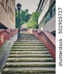 city outdoor stairs between... | Shutterstock . vector #502905727