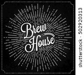 brew house ears of wheat label. ... | Shutterstock .eps vector #502920313